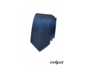 Tmavě modrá slim kravata s jemným žlutým vzorkem