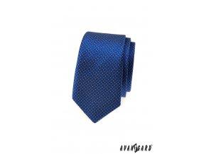 Zářivě modrá slim vzorovaná kravata