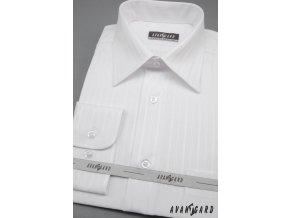 Pánská bílá košile s jemným vzorem KLASIK dl.ruk 527-90001