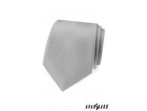 Světle šedá kravata s vroubkovanou strukturou