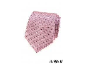 Růžová kravata s drobnými tmavými tečkami