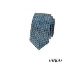 Modrá slim kravata s tmavým drobným vzorem