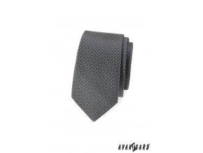 Šedá slim kravata s drobným vzorkem