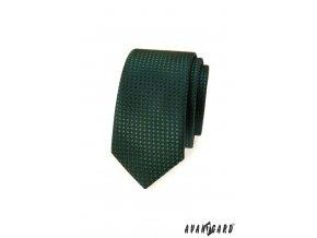 Zelená jemně lesklá slim kravata
