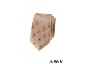 Béžová slim kravata se vzorem
