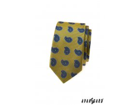 Zeleno-žlutá slim kravata s modrým vzorem
