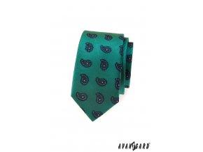Zelená slim kravata s výrazným modrým vzorem