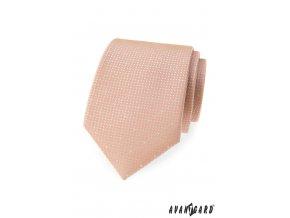 Světle pudrová kravata s bílým vzorem