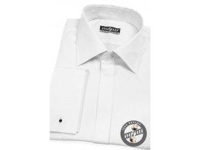 Bílá pánská košile na manžetové knoflíčky s krytou légou, 517-01