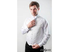 Bílá vesta s jemným vzorkem + regata + kapesníček