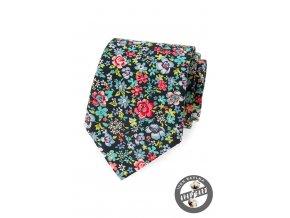 Modrá bavlněná kravata s květy