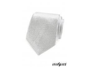 Stříbrná luxusní kravata s jemnou mřížkou