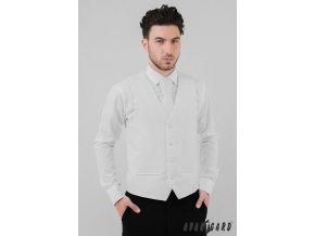Bílá pánská vesta s jemnými proužky + regata + kapesníček