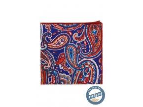 Modrý kapesníček do saka s červeným vzorem