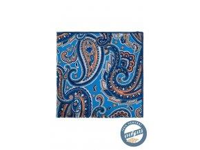 Modrý kapesníček s oranžovým výrazným vzorem
