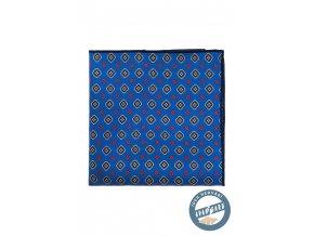 Zářivě modrý kapesníček s drobným červeným vzorkem