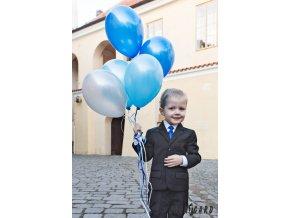 Zářivě modrá chlapecká jednobarevná jemně lesklá kravata