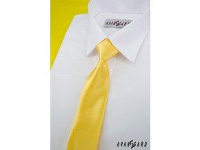 Zářivě žlutá chlapecká jemně lesklá kravata