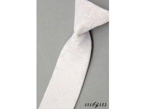 Bílá dětská kravata s velmi jemným vzorkem