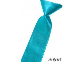Zářivě tyrkysová chlapecká lesklá kravata