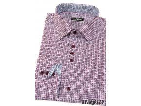 Bordó pánská slim fit vzorovaná košile, dl. rukáv, 125-1301