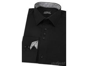 Černá pánská slim fit košile, dl. rukáv, 125-2309