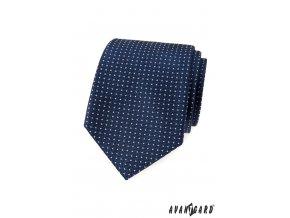 Tmavě modrá kravata s bílými čtverečky