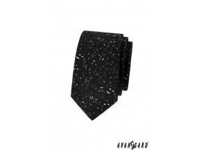 Černá matná slim kravata se vzorem - noty