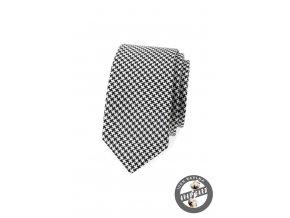 Bílá slim kravata s černým vzorem