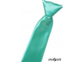Mátová chlapecká jemně lesklá jednobarevná kravata