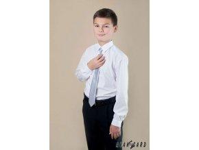 Stříbrná chlapecká jemně lesklá kravata