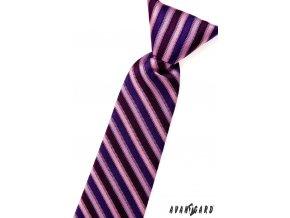 Růžová chlapecká proužkovaná kravata