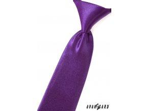 Zářivě fialová chlapecká jemně lesklá kravata_