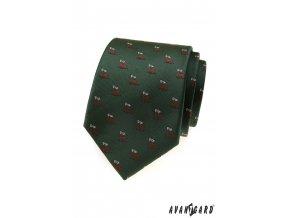 Tmavě zelená kravata se vzorem - jelen
