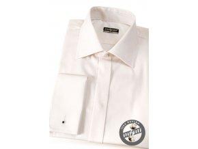 Smetanová pánská slim fit košile na manž. knoflíčky, krytá léga, 111-206