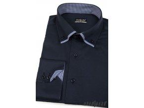 Tmavě modrá pánská slim fit košile, dl. rukáv, 120-3101