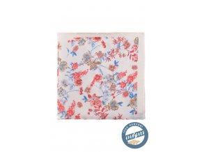 Béžový hedvábný kapesníček s květy