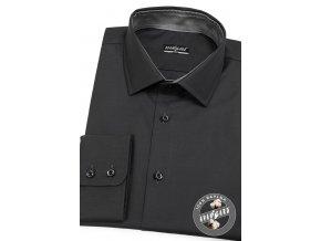 Velmi tmavě šedá pánská slim fit košile, dl.rukáv, 109-6923