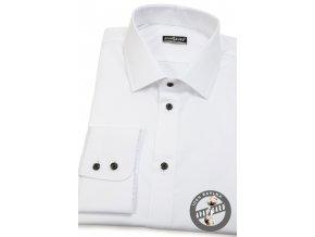 Bílá pánská slim fit košile, dl.rukáv, 109-9123