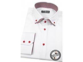Bílá pánská slim fit košile s červenými detaily, dl.rukáv, 130-0112