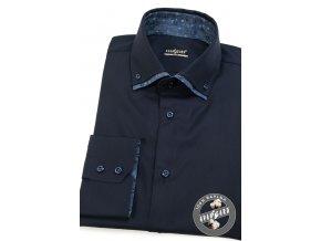 Tmavě modrá pánská slim fit košile, dl.rukáv, 130-6315