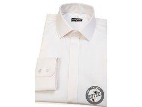Smetanová pánská slim fit košile s krytou légou, 132-206