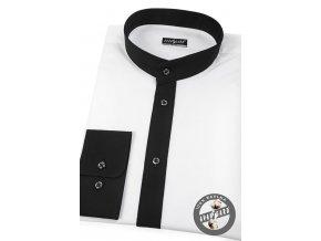 Bílá pánská slim fit košile se stojáčkem, dl.rukáv, 152-0123