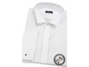 Bílá pánská slim fit košile, frakovka, dl. rukáv na manž. knoflíčky, 155-1 V1