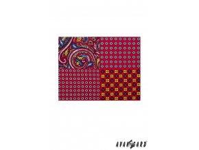 Červený vzorovaný kapesníček 4v1