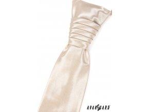 Ivory lesklá jednobarevná pánská regata + kapesníček do saka