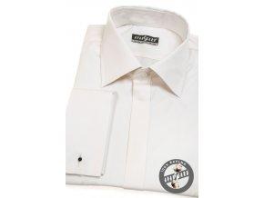 Smetanová pánská košile na manžetové knoflíčky, krytá léga