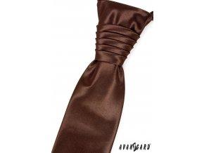 Čokoládová jemně lesklá jednobarevná pánská regata + kapesníček do saka