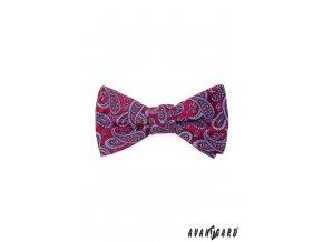 Červený pánský vázací motýlek s modrým výrazným vzorem + kapesníček do saka