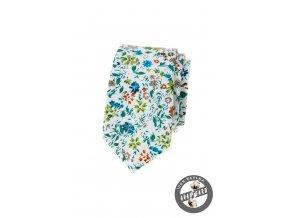Bílá slim kravata s tyrkysovými květy